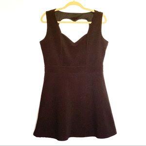 Dots Heart Shaped Open Back Black Dress | XL